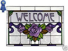 """Stained Art Glass WELCOME Window Suncatcher"" This beautiful panel bids a heartfelt ""Welcome"" to"