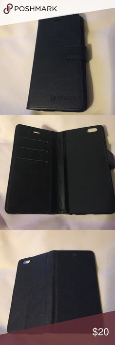 6plus iPhone holder. NEW black New and I'm not sure if it's leather or not. Magnetic closure and inside slots for cards and slots for $. Perfect when you don't want to carry a billfold! Accessories Phone Cases