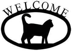 Village Wrought Iron WEL6S Small Welcome SignPlaque  Cat *** For more information, visit image link.