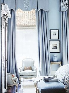South Shore Decorating Blog: Beautiful French Blue Rooms, nice draperies on  long windows, pretty blue & white chairs