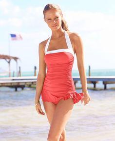 Lauren by Ralph Lauren Swimsuit, Halter Ruched Tummy Control Swimdress -  Womens Swimwear - Macy s a2cf27c6ca03