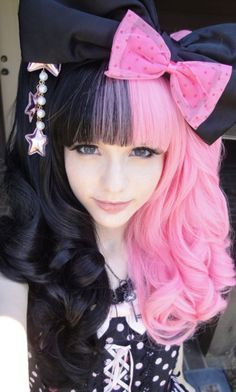 Women's Long Hair - Heavy Bang - Color - Contrasting Black and Pink - Avant Garde - gothic lolita style