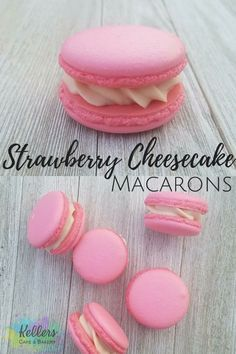 These bite-sized cookies are so yummy they will not last long I promise!! Who doesn't love strawberry cheesecake?! #frenchmacarons#macarons#strawberry#cheesecake#kellersbakery