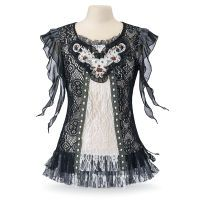 Trailing Cap Sleeve Lace Top