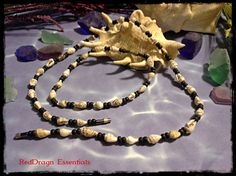 """19"""" Necklace 9 1/2"""" Anklet Shell and Wood Bead  Barrel Clasp"""