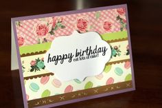 Handmade Birthday Card/ Macarons and Roses/Happy Birthday Eat Lots of Cake/Blank Inside/Free Shipping by TresorValeur on Etsy