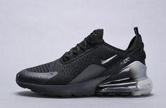 black Nike Air max 270 cushion cushioning running shoes- 180 5995 5283 Nike Air Max Plus, Nike Air Max For Women, Mens Nike Air, Nike Air Vapormax, Nike Men, Pink Running Shoes, Running Shoes For Men, Black Nike Sneakers, Monochrome