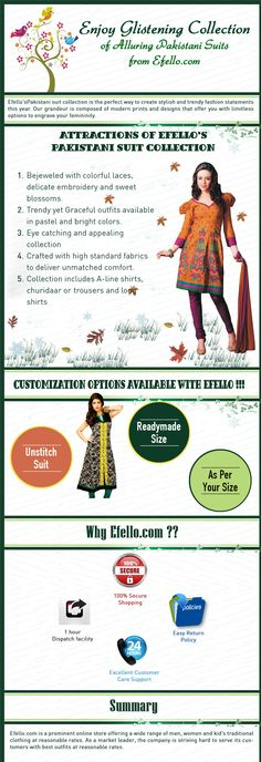 Efello's Pakistani Suits collection is the perfect way to create stylish and trendy fashion statement this year. Our grandeur is composed of modern prints and designs that offer you with limitless options to engrave your feminity.