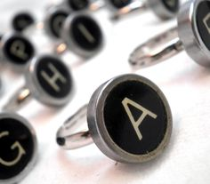 Clever rings made from vintage typewriter keys