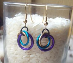 Darkwing Duck Inspired Chainmaille Earrings by 4theluvofcrafts, $3.00