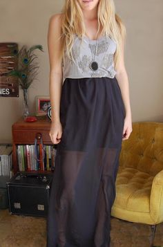 DIY chiffon maxi. In love with this fabric this season. Must try this.