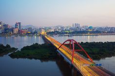 Cityscape of Han River_ South Korea Framed Prints, Canvas Prints, Art Prints, Han River, The World's Greatest, Unique Art, South Korea, Bridges, San Francisco Skyline