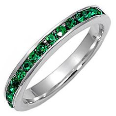 """<META NAME=""""DESCRIPTION"""" CONTENT=""""Elaina: Stackable, contemporary, versatile and elegant! Made with Emerald Ice CZ's. Elaina is the May Birthstone from our Montana line of stackable eternity band rings. Made with solid 925 Sterling Silver and finished in Platinum White Rhodium."""