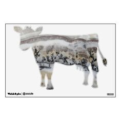 Dendritic Agate Cow Room Decals #cowstickers #cowdecals #wallstickers #bovine #walldecor #animals #agates #rocks