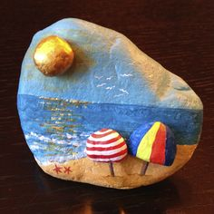 At the beach #rockpainting