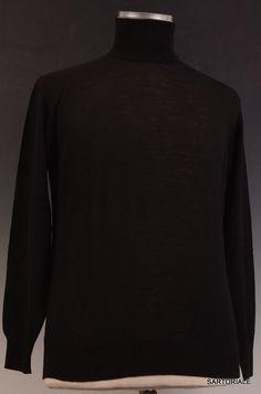 RUBINACCI Napoli Solid Black Merino Wool Turtleneck Sweater US S NEW EU 48