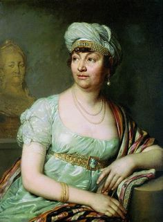 Madamme de Staël as Corinne painted by Vladimir Borovikovsky in Russia, 1812. She was a great literary figure of her time who lived in exile at first because of the French Revolution and then because of Napoleon. She was a good friend of Queen Louise of Prussia with whom maintaned long conversation meanwhile their kids played together.