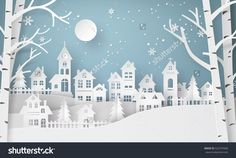 Snow Urban Countryside Village with Full Moon New Stock Photo . Winter Snow Urban Countryside Village with Full Moon New Stock Photo . Winter Snow Urban Countryside Village with Full Moon New Stock Photo . Merry Christmas And Happy New Year, Christmas Paper, Christmas Crafts, Christmas Night, Silver Christmas, Christmas Bags, Victorian Christmas, Vintage Christmas, Christmas Backdrops