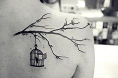 """And you're kept in an open cage, so you're free to leave or stay."" Could be a Death Cab tattoo"