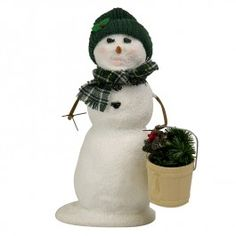 Byers' Choice Snow Day Fun, Snowman with Bucket of Greens
