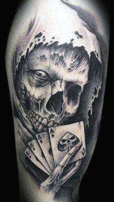 tatuaże czaszki i karty