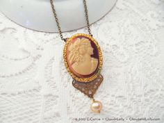 Repurposed carved cameo brooch turned necklace!  #cloudandlolly #cameo #necklace