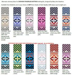 We've just added a new kit page for my Chevron Fingerless Mittens. You can select your three favorite Dale Alpakka colors from the three little pull-downs, right there on the kit page. Knitting Kits, Fair Isle Knitting, Knitting Charts, Knitting Designs, Knitting Patterns Free, Stitch Patterns, Knitting Ideas, Fingerless Mittens, Knit Mittens