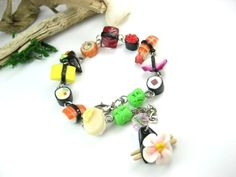 Sushi Bracelet - Food Jewelry, sushi jewelry, sushi set collection, unique gift for her, women, sushi lover, charm bracelet Japanese jewelry by beadpassion on Etsy https://www.etsy.com/listing/62777455/sushi-bracelet-food-jewelry-sushi