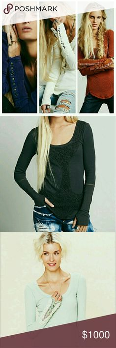 ♡Looking for Free People thermals in size small♡ ♡ Looking for Free People Studded Heart Cuff thermals in purple and orange, Rose Garden thermal in grey, and Fiesta Cuff thermal in mint, all in size small please :0) ♡ Free People Tops Tees - Long Sleeve