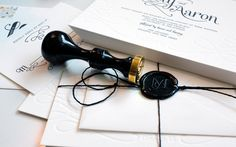Black twine & a wax seal + stately blind embossing on our Lettra = a #wedding invitation most glamorous.