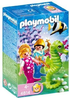 """Playmobil Mermaid Prince And Princess by Playmobil. $7.99. 3.9 x 5.9 x 2 inches. The enchanting Ocean Kingdom for girls provides plenty of collecting fun for established PLAYMOBIL fans and newcomers alike. Collecting fever has broken out """"under water"""" as well: the six fairytale ocean dwellers and the seahorses with their mother-of-pearl shimmer make an enchanting team. The white seashell with the five cute little seahorse babies is especially appealing. The remarkable f..."""
