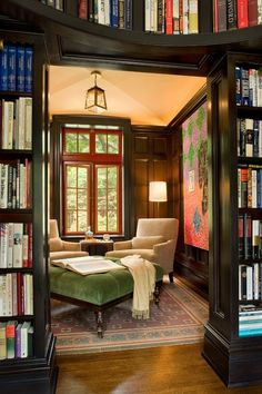 Perfect reading room | two chairs share an ottoman <3