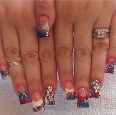 Instagram photo of flared acrylic nails by Renee David-Laudenslayer @ Sassy Hair N' Nails Salon 4th Of July Nails, Fourth Of July, Hair And Nails, My Nails, Flare Nails, Patriotic Nails, Curved Nails, Sassy Hair, Finger Nails