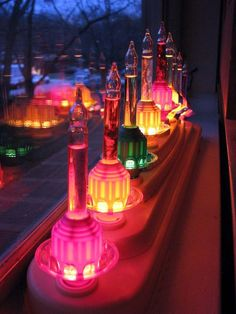 Bubble light window display// love this idea to plug in bubble lights rather than the electric candles in the base. It must look amazing from outside looking in. Merry Christmas, Vintage Christmas Ornaments, All Things Christmas, White Christmas, Christmas Holidays, Victorian Christmas, Christmas Recipes, Holiday Crafts, Christmas Gifts