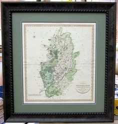 Map 1801 of Nottinghamshire. Framed by Frameworks of Utah in a Larson-Juhl frame. English Cottage Style, Framed Maps, The Locals, Guest Room, Cosy, Utah, Vintage World Maps, The Originals, Guest Rooms