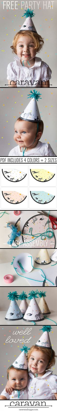 FREE Printable Party Animal hats from caravanshoppe.com