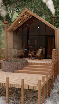 Cabin Design, Small House Design, Modern House Design, Modern Wood House, Wood House Design, Modern Tiny House, Wooden House, Tiny House Cabin, Tiny House Living