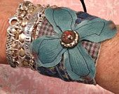 hippie bling flower fabric boho cuff bracelet
