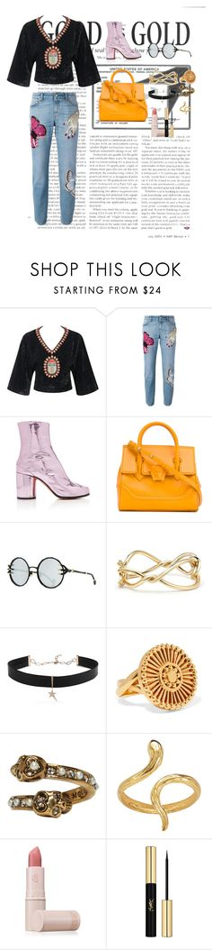"""""""Untitled #142"""" by xoutfiter ❤ liked on Polyvore featuring Gucci, Alexander McQueen, Maison Margiela, Versace, Anna-Karin Karlsson, David Yurman, Diane Kordas, Chloé, Madina Visconti di Modrone and Lipstick Queen"""