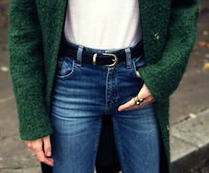 green wool coat, belt & high-waisted jeans #style #fashion #MariaValverde