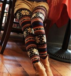 Snowflake Patterens Colorful Stripes Leggings