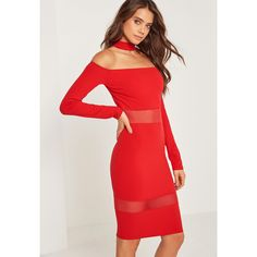Missguided Mesh Panel Bardot Choker Midi Dress (1.250 CZK) ❤ liked on Polyvore featuring dresses, red, red midi dress, mid calf dresses, mesh inset dress, calf length dresses and mid calf cocktail dresses