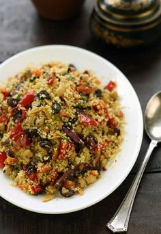 Moroccan couscous with chickpeas, fast-roasted vegetables and almonds - MediterrAsian.com