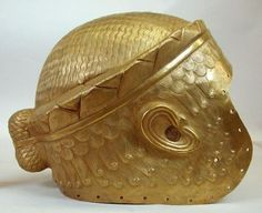 Sumerian royal helmet of Meskalamdug, 2500 B.C. Gold, in form of wig, from Ur, 23 cm high. Iraq museum, Baghdad