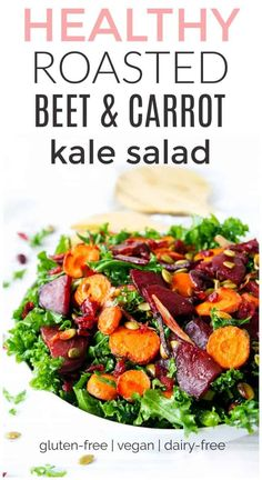 Check out this gorgeous Roasted Beet and Carrot Kale Salad. Perfect for lunch dinner or a snack! The whole family is sure to love this nutritious and filling salad recipe. Healthy Bbq Recipes, Beet Salad Recipes, Kale Recipes, Carrot Recipes, Beef Recipes, Dinner Recipes, Healthy Dinners, Weeknight Meals, Healthy Cooking