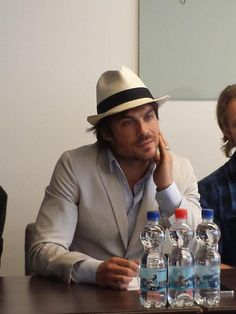 Ian would not be happy about all those plastic bottles in front of him!