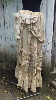 Skirt, steampunk , Westworld skirt, lace, tatter punk, faerie punk, ghost, vampire, long skirt, beige, ruffles, raw design, women, badass