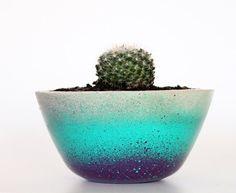 Concrete Planter Indoor Handmade Concrete Round Planter + Turquoise and Dark Purple urban housewares kitchen vessel