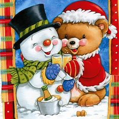 This would be cute kinda a little different from this to paint as a Christmas card. Christmas Clipart, Vintage Christmas Cards, Christmas Greeting Cards, Christmas Printables, Christmas Snowman, Christmas Greetings, Christmas Ornaments, Christmas Scenes, Christmas Pictures