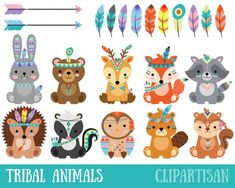 herbst Tribal Animals Clipart Cute Forest Animals Clip Art Etsy How To Build With Cobb eco building, Forest Animals, Woodland Animals, Baby Animals, Cute Animals, Tribal Animals, Tribal Fox, Art Mignon, Tribal Nursery, Image Clipart